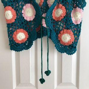 Vintage Tops - Vintage Handmade Crochet Top Large